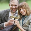 Stock Photo: Love couple drinking champagne