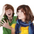 Crying man and unhappy woman — Stock Photo