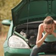 Sad woman with broken car — Stock Photo