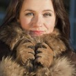 Portrait of woman in fox coat — Stock Photo