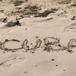 CUBA WRITTEN IN THE SAND — Stock Photo