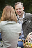 Talking couples by picnic — Stock Photo