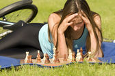 Playing chess outdoor — Stock Photo