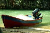 Motor boat on the beach — Stock Photo