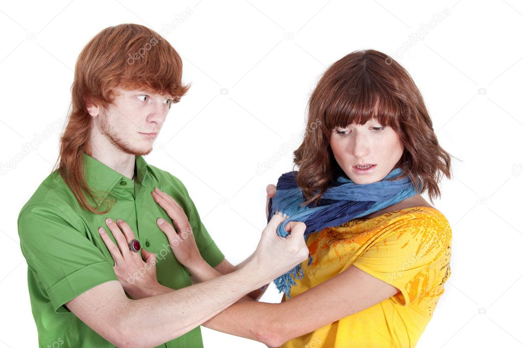 Domestic violence with man shouting at his wife  Stock Photo #1173674