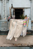 Clothes dried on balcony — Stock Photo
