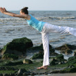 Yoga at the beach — Stock Photo