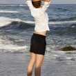 Businesswoman at the beach — Stock Photo