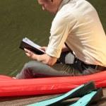 Man reading his notes — Stock Photo #1234074