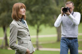 Model and potographer working together — Stock Photo