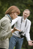 Frustrated photographer and unhappy mode — Stock Photo