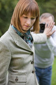 Woman and photographer — Stock Photo