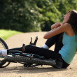 Accident on road with biker — Stock Photo #1242210