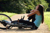 Accident on road with biker — Stock Photo
