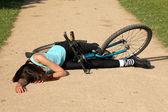 Crash with bike on the road — Stock Photo