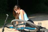 Biker fall — Stock Photo