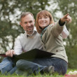 Romantic couple by picnic — Stock Photo