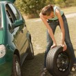 Tire change on the car — Foto Stock