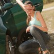 Car Breakdown and tire change - Stock Photo