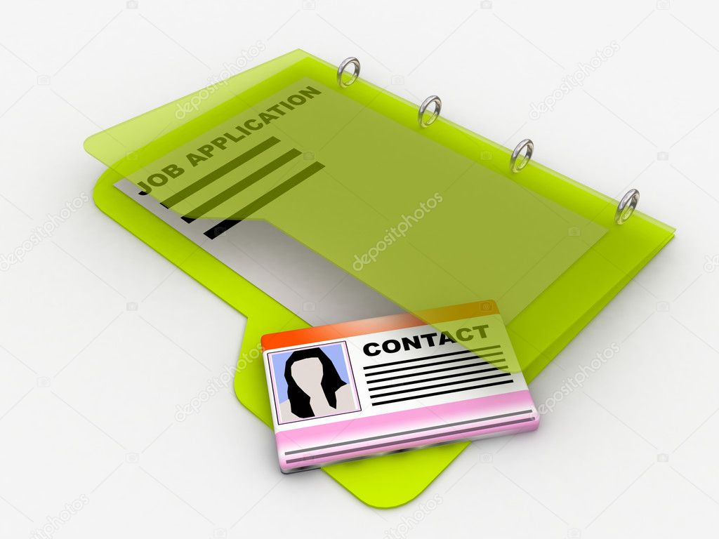 Folder with job application paper and contact card  Stock Photo #1318042