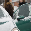 Friends talking on the winter street — Stock Photo