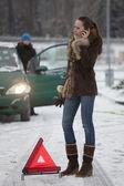 Woman calling car service by breakdown — Stock Photo