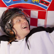 Ice hockey player with croatian flag — Stock Photo