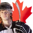 Ice hockey player over canadian flag — Stock Photo