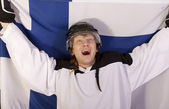 Ice hockey player with finnish flag — Stock Photo