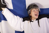 Happy finnish ice hockey player — Stock Photo