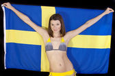 Woman with sweden flag — Stock Photo