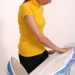Woman ironing — Stock fotografie