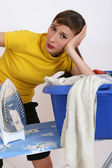 Woman by housework — Stock Photo