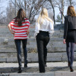 Women walking outdoor - Stockfoto
