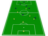 Soccer pitch with players — Stock Photo
