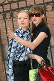 Shopping girls on the street — Stock Photo