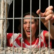Stock Photo: Screaming in jail