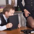 Flirting in office - Stok fotoğraf