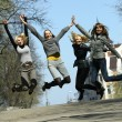 Group of girls jumping — Stock Photo #1845513