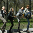 Group of girls in park — Stock Photo