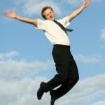 Happy jumping businessman — Stock Photo