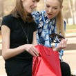 Best friends after shopping — Stock Photo
