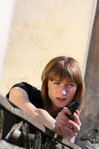 Female agent shooting — Stock Photo