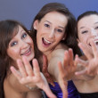 Stock Photo: Happy fanatic girls in nightclub