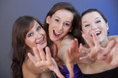 Happy fanatic girls in nightclub — Stock Photo