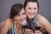 Women with glasses sparkling wine — Foto de Stock