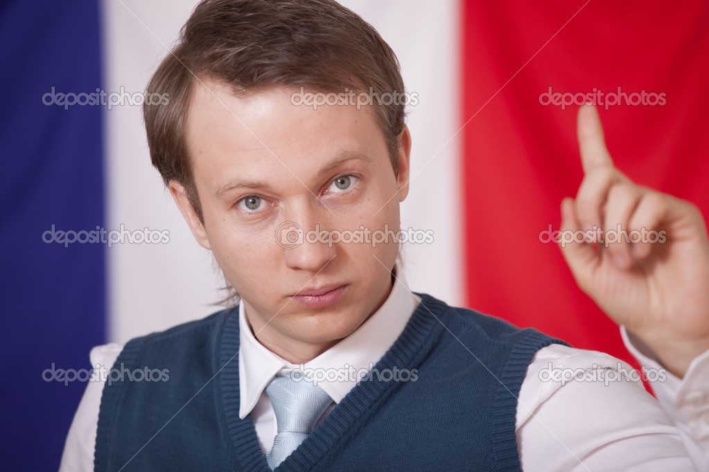 Election campaign - man speaking over france flag in background — Stock Photo #2240269