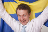Fan with sweden flag — Stock Photo