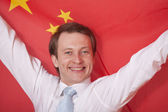Fanatic man with china flag — Photo