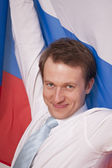Fanatic man with russian flag — Stock Photo